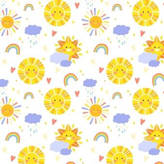 Padrão de sol desenhado à mão com nuvens e arco-íris