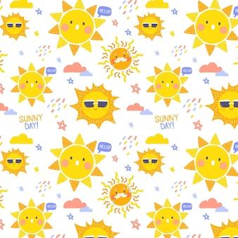 Padrão de sol desenhado à mão com óculos de sol