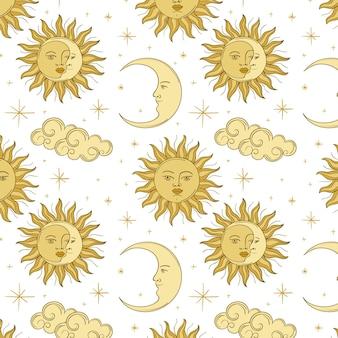 Padrão de sol desenhado à mão de gravura