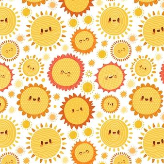 Padrão de sol desenhado à mão