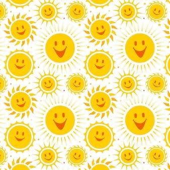 Padrão de sol sorridente de design plano