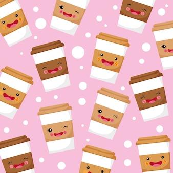 Padrão de sorriso bonito e engraçado de café