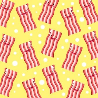 Padrão de sorriso fofo e engraçado de bacon frito
