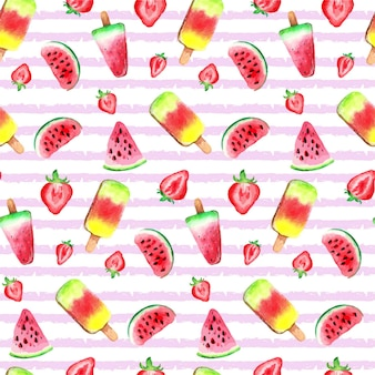 Padrão de sorvete de frutas em aquarela