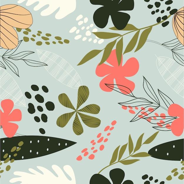 Padrão de superfície floral abstrato sem emenda