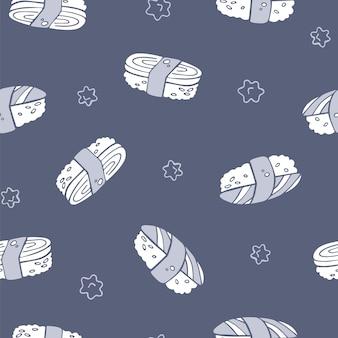 Padrão de sushi sem emenda de mão desenhada vector