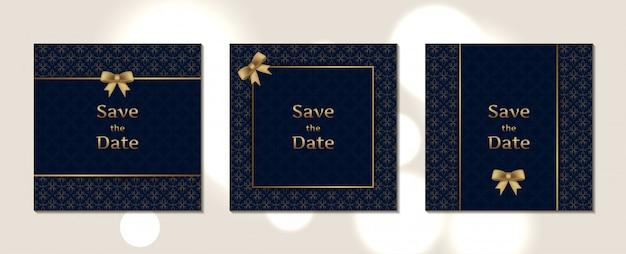 Padrão de tamanho quadrado de cartão de convite de casamento de luxo
