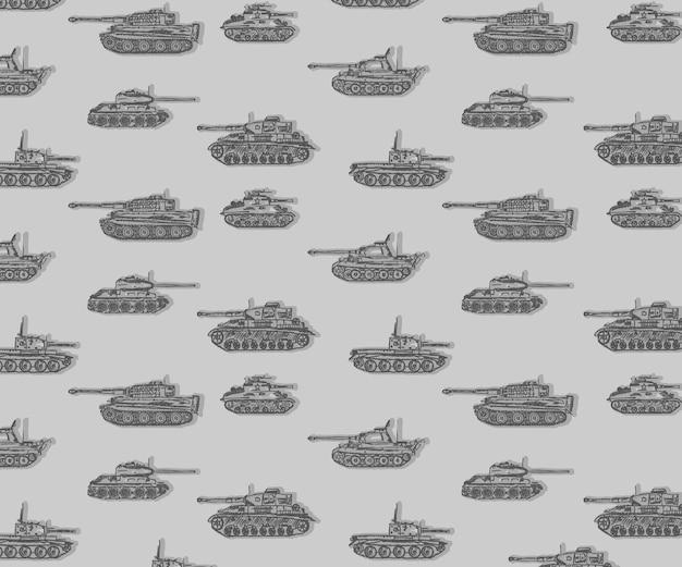 Padrão de tanques mão desenhada ww2