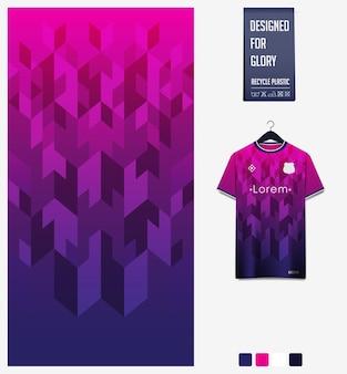 Padrão de tecido de camisa de futebol desenho padrão abstrato em fundo violeta