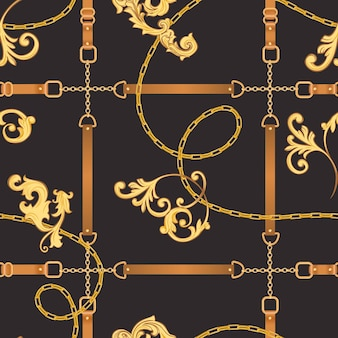 Padrão de tecido de moda sem costura com correntes douradas, cintos e alças. design de moda de fundo barroco luxuoso com elementos de joias para têxteis, papel de parede, lenço. ilustração vetorial