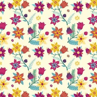 Padrão de tecido floral pintado à mão