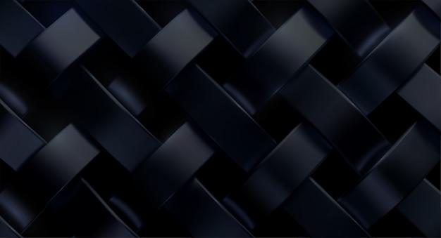 Padrão de tecido preto. ilustração 3d realista. textura de tecido de luxo. fitas de tecido metálico. fundo abstrato ferreiro.
