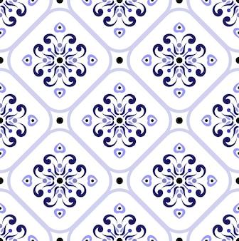 Padrão de telha cerâmica colorida sem costura floral fundo azul e branco decoração de papel de parede decorativo