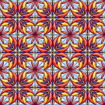 Padrão de telha cerâmica. fundo abstrato decorativo. talavera mexicana ornamentada tradicional, azulejo português ou majólica espanhola