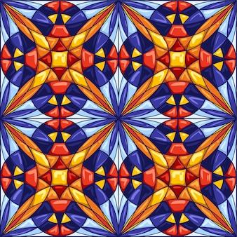 Padrão de telha cerâmica. fundo abstrato decorativo. Vetor Premium
