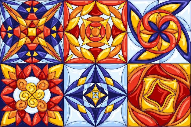 Padrão de telha cerâmica. ladrilhos cerâmicos ornamentados típicos portugueses ou italianos. fundo abstrato decorativo. retro sem costura.