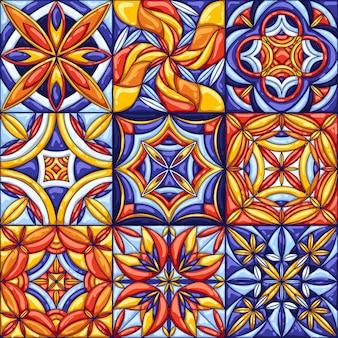Padrão de telha cerâmica. talavera mexicana ornamentada tradicional, azulejo português ou majólica espanhola
