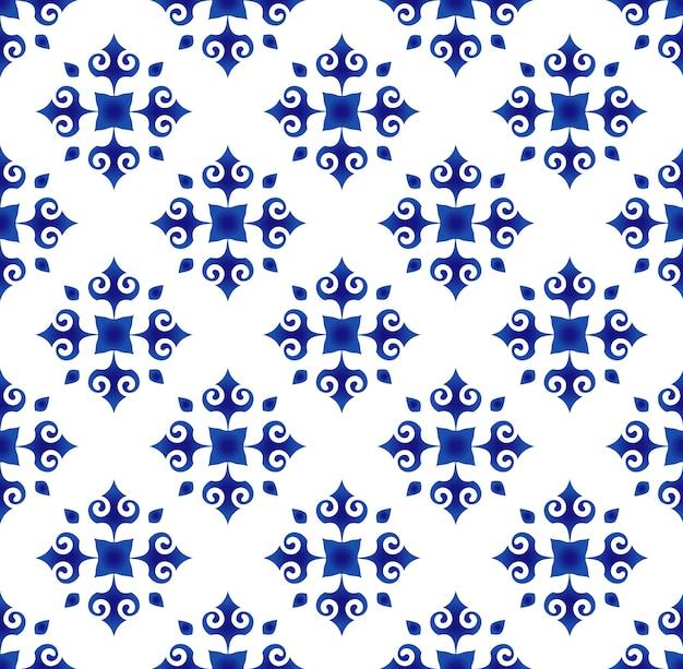 Padrão de telha floral abstrato azul e branco, fundo de porcelana
