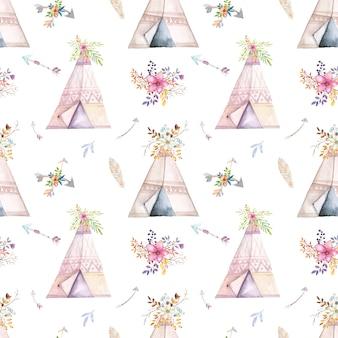 Padrão de tenda aquarela