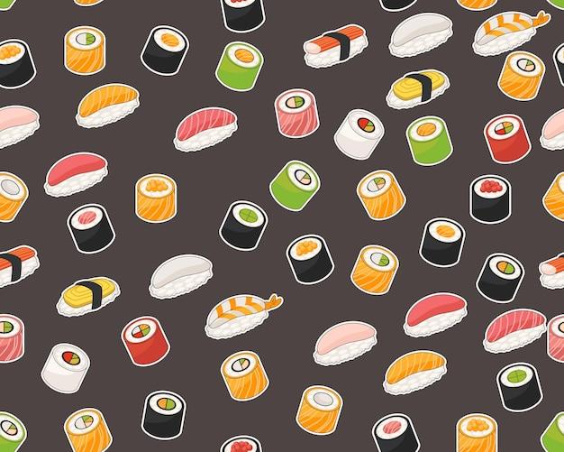 Padrão de textura plana sem costura de vetor coleção de sushi.