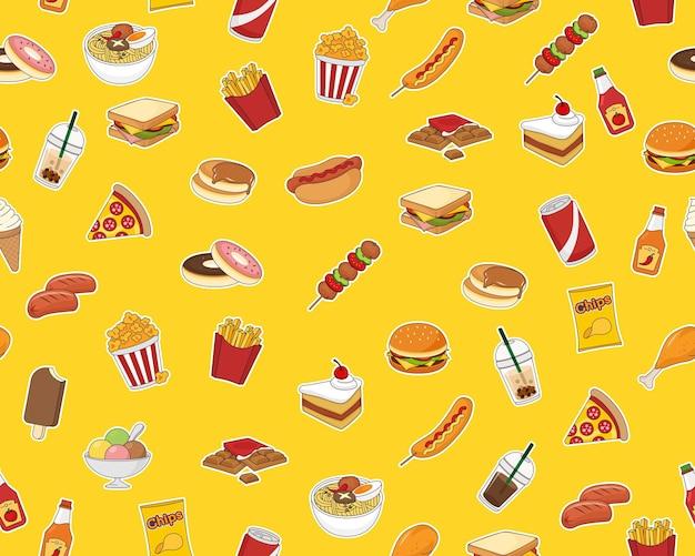 Padrão de textura plana sem costura de vetor fast food