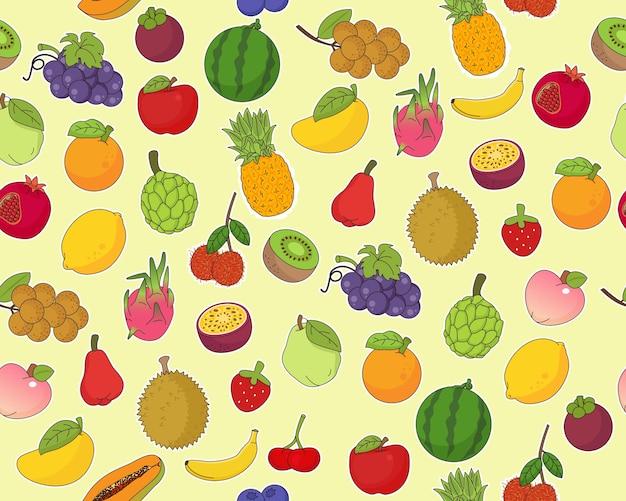 Padrão de textura plana sem costura de vetor frutas frescas