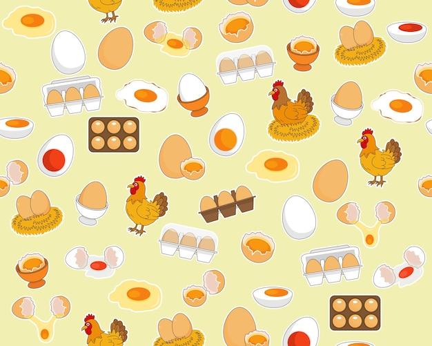 Padrão de textura plana sem costura de vetor ovos frescos de fazenda