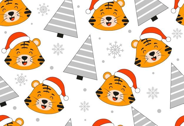 Padrão de tigre fofo ano novo de 2022