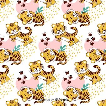 Padrão de tigre linda mão desenhada