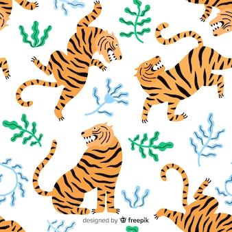Padrão de tigre selvagem desenhada de mão