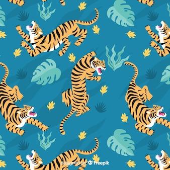 Padrão de tigre vintage mão desenhada