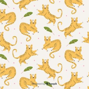 Padrão de tigres de mão desenhada