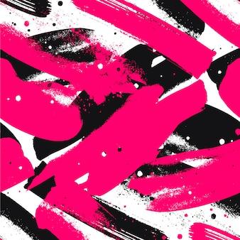 Padrão de traçados de tinta rosa e preto vívido abstrato