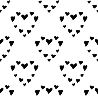 Padrão de trandy nórdico abstrato com corações em estilo escandinavo moderno em estilo vetorial de doodle