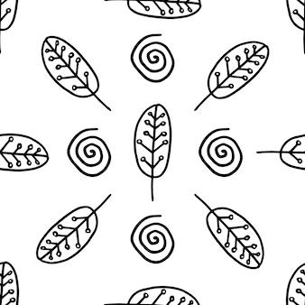 Padrão de trandy nórdico abstrato em estilo escandinavo moderno em estilo doodle vetorial