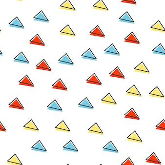 Padrão de triângulo aleatório, fundo geométrico abstrato nos anos 80, estilo retro dos anos 90. ilustração geométrica colorida
