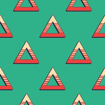 Padrão de triângulos retrô, fundo geométrico abstrato nos anos 80, estilo dos anos 90. ilustração geométrica simples