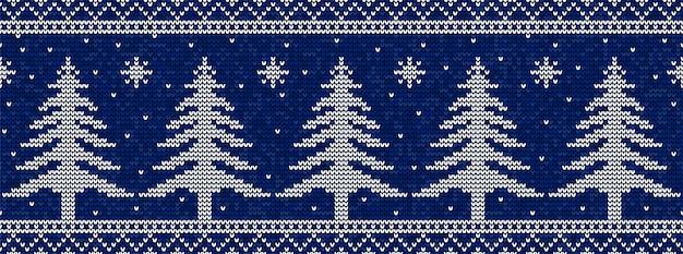Padrão de tricô de natal azul e branco