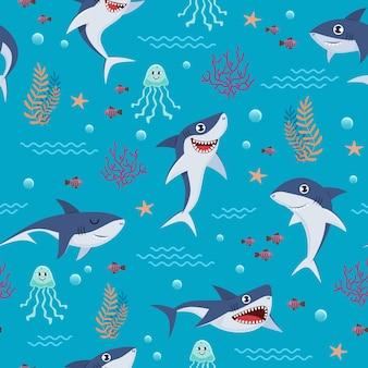 Padrão de tubarões dos desenhos animados. plano de fundo transparente com peixes marinhos fofos