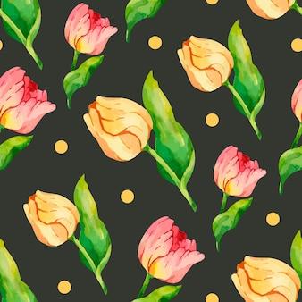 Padrão de tulipas em aquarela com pontos amarelos no escuro