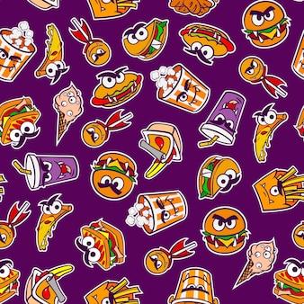 Padrão de um conjunto de fast food para o feriado de halloween em um estilo cartoon. ilustração vetorial.