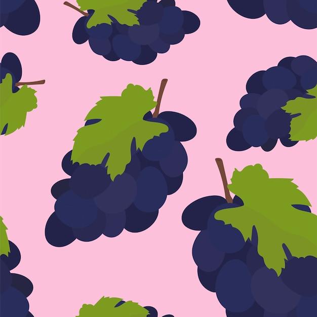 Padrão de uva colorido mão desenhada