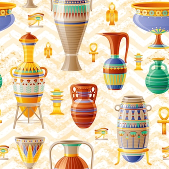 Padrão de vaso. fundo sem emenda de cerâmica com velho pote de barro, jarro de óleo, urna, ânfora, vidro, jarra, vaso. antigo padrão egípcio. arte cerâmica antiga. decoração vintage étnica dos desenhos animados em zig zag