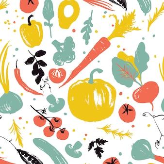Padrão de vegetais com abóbora, cenoura, cebola, tomate e pimenta