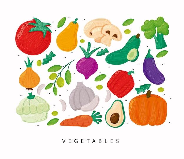 Padrão de vegetais com alimentação saudável em ilustração de fundo branco
