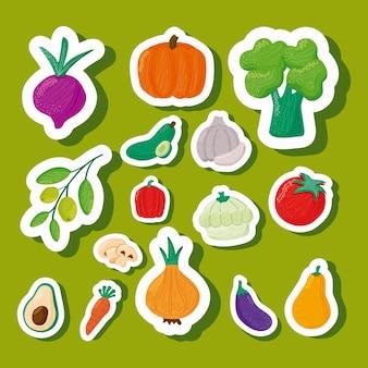 Padrão de vegetais com alimentação saudável em ilustração de fundo verde
