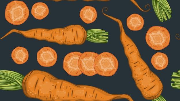 Padrão de vegetais orgânicos frescos com cenoura natural e fatias no escuro