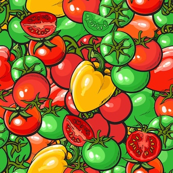 Padrão de vegetais sem costura com ilustração vetorial de tomate e pimenta vermelha e verde