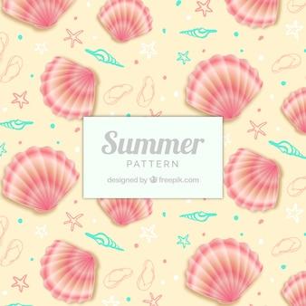 Padrão de verão bonito com conchas