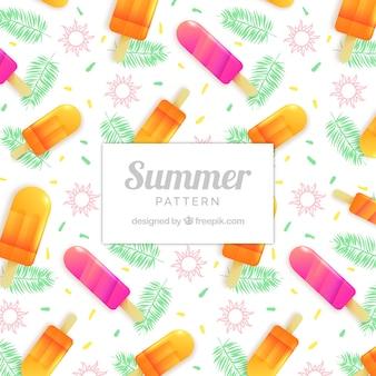 Padrão de verão bonito com sorvete